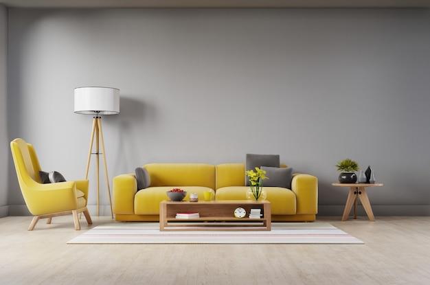 Salon avec canapé en tissu jaune, fauteuil jaune, lampe et plante verte dans un vase sur mur foncé