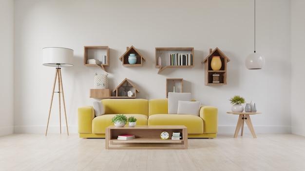 Salon avec canapé en tissu jaune, fauteuil jaune, lampe et plante verte dans un vase