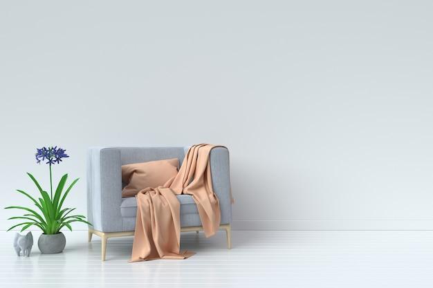 Salon avec canapé de velours sur fond de mur blanc vide