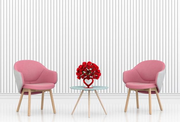 Salon et chaise design d'intérieur illustration 3d, salle de la saint-valentin