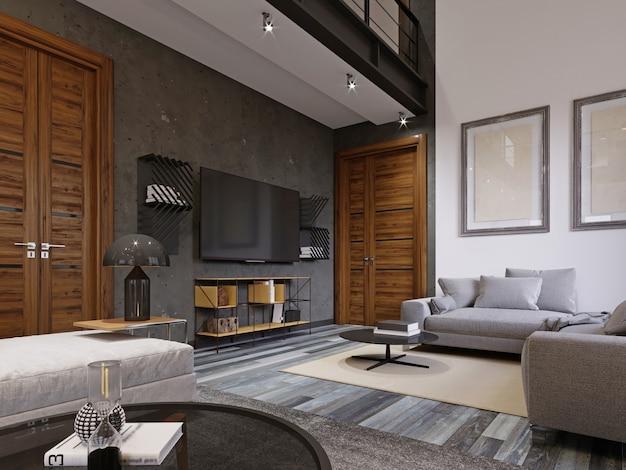 Salon chic et moderne avec une télévision et un canapé moelleux dans un style moderne. rendu 3d