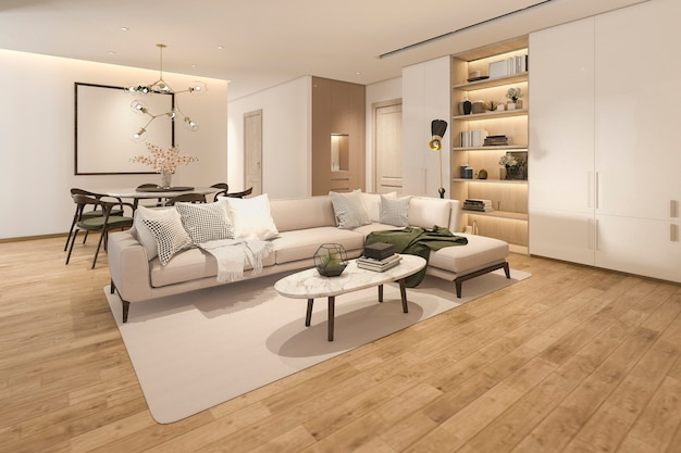 Salon classique en bois rendu 3d avec carrelage en marbre et étagère