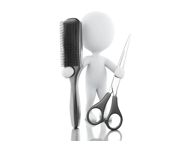Salon de coiffure 3d avec brosse à cheveux et ciseaux.