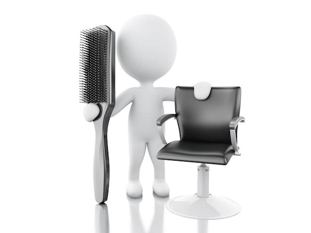 Salon de coiffure 3d avec brosse à cheveux.