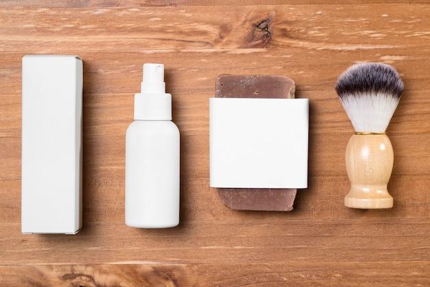 Salon de coiffure vue de dessus et spray