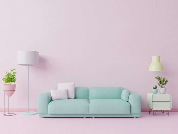 Salon coloré aux couleurs pastel avec canapé et décoration de la pièce. rendu 3d