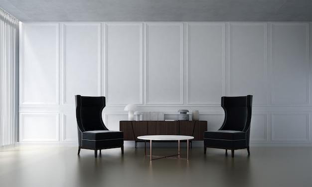 Le salon confortable et la décoration de meubles simulés et le fond de mur vide