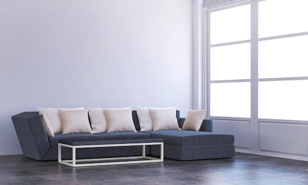 Salon confortable moderne et design d'intérieur de fond de texture de mur vide