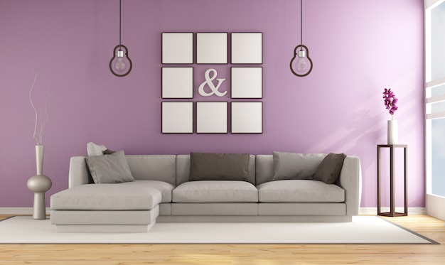 Salon contemporain avec canapé contre mur rose