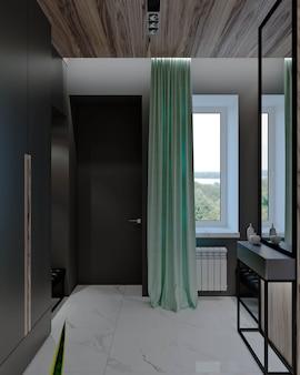 Salon avec cuisine, couloir et salle à manger, cheminée, boiseries et marbre