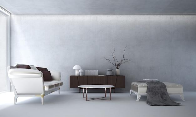 Le salon et la décoration de meubles simulés et le fond de mur de béton blanc vide