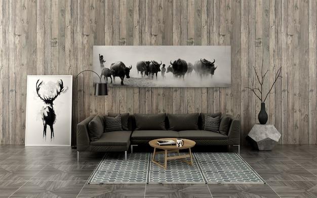 Le salon décoré de peinture à l'encre de chine