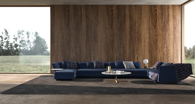 Salon de design d'intérieur de luxe moderne avec fenêtres panoramiques illustration de rendu 3d