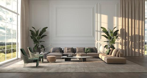 Salon de design d'intérieur de luxe moderne avec de grandes fenêtres classiques illustration de rendu 3d