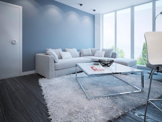 Salon design scandinave élégant appartement avec fenêtres panoramiques