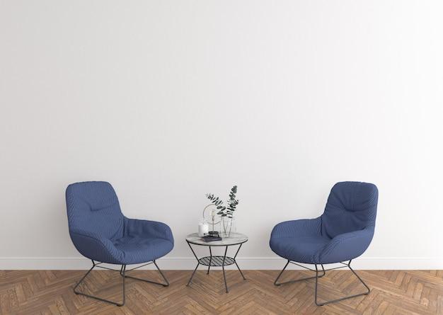 Salon élégant avec mur blanc
