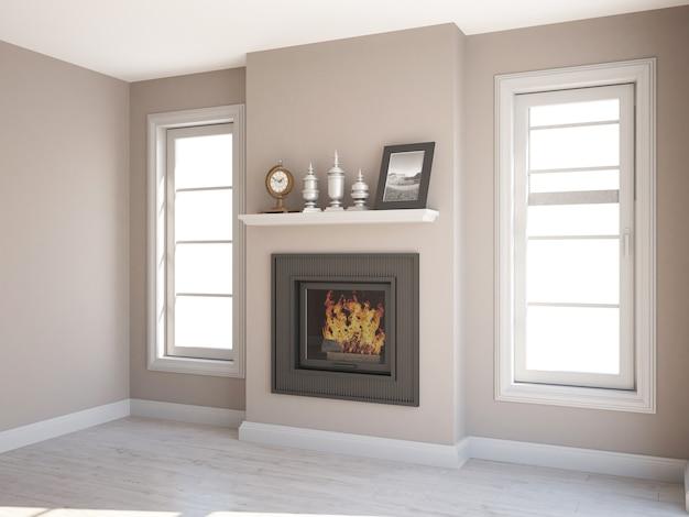 Salon élégant vide avec deux fenêtres étroites et cheminée au milieu
