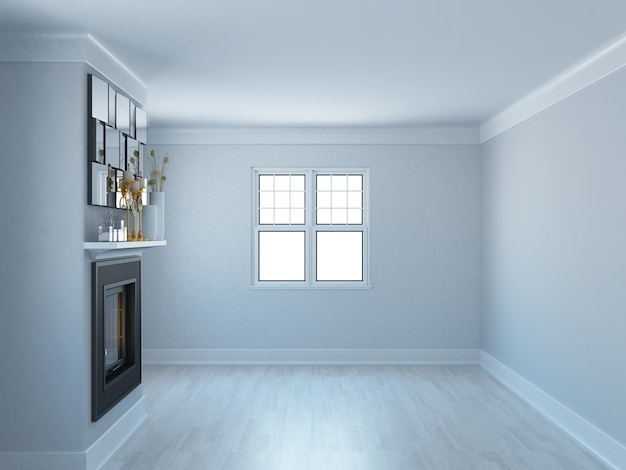Salon élégant vide avec murs gris et cheminée