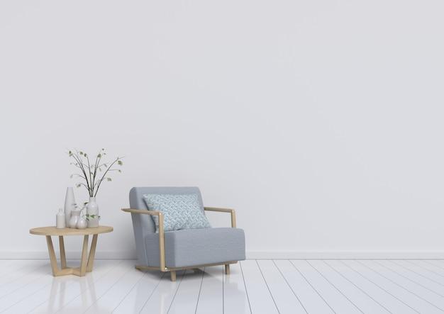 Salon avec fauteuil gris et plante sur fond de mur blanc. rendu 3d.