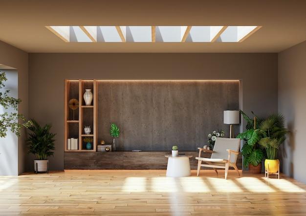 Salon avec fauteuil et plante sur mur en béton