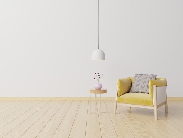 Salon avec fauteuil en tissu jaune, livre et plantes sur un mur blanc vide.