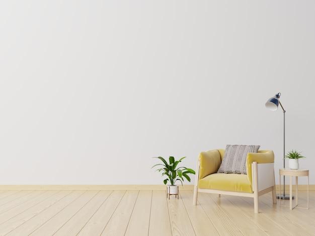 Salon avec fauteuil en tissu jaune, livre et plantes