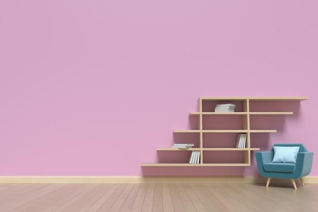 Salon avec fauteuils et une bibliothèque derrière les murs roses, rendu 3d
