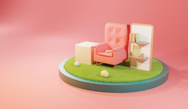 Salon avec fauteuils confortables et étagères livres. illustration 3d