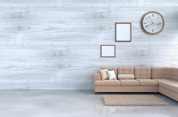 Salon gris-blanc décor canapé, horloge murale, mur en bois, cadre photo, tapis. 3d r