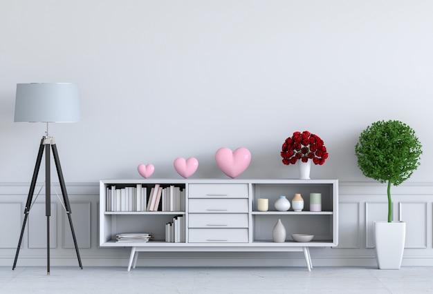 Salon et illustration 3d de la décoration intérieure de coeur rose, salle de la saint-valentin