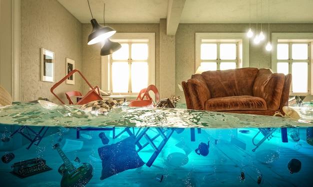 Salon inondé de chaise flottante et personne au-dessus.