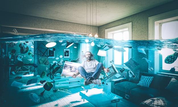 Salon inondé d'objets flottants et homme aux cheveux longs