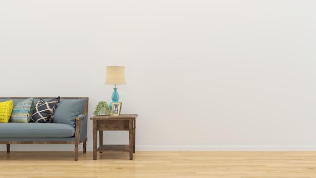 Salon intérieur 3d rendre canapé table plancher en bois mur modèle