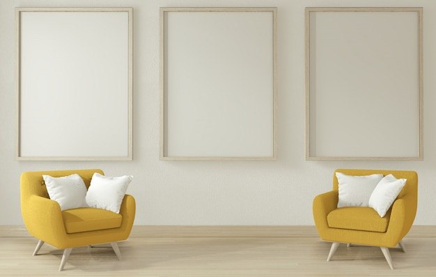 Salon intérieur avec bras de canapé jaune