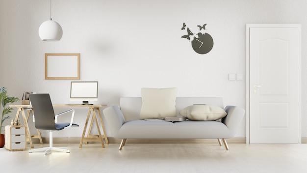 Salon intérieur avec canapé blanc. rendu 3d.