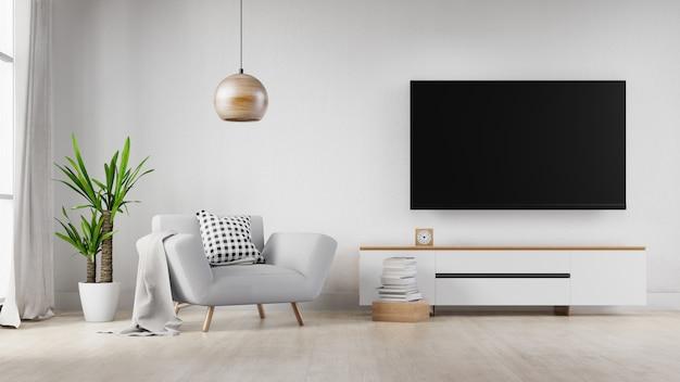 Salon intérieur avec canapé blanc et télévision. rendu 3d.