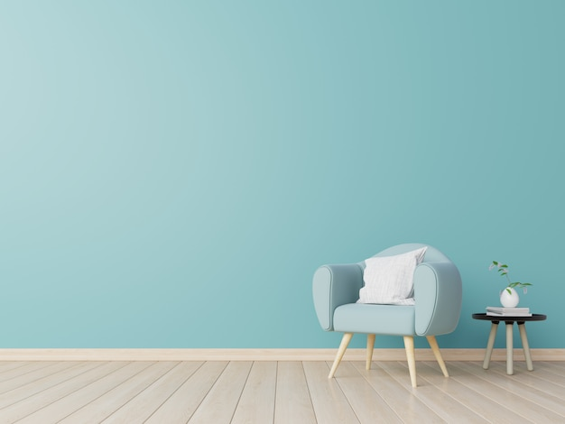 Salon intérieur avec chaise, plantes, armoire, sur un mur bleu vide.