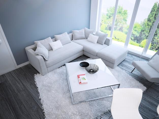 Salon intérieur chambre spacieuse avec des meubles blancs et des murs bleus