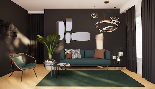 Salon intérieur avec décoration moderne, rendu 3d