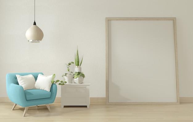 Salon intérieur avec fauteuil bleu et décoration. rendu 3d.