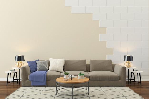 Salon intérieur maison étage modèle fond mur de briques