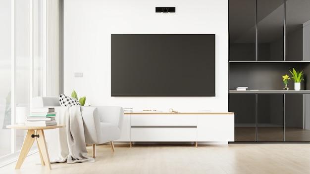 Salon intérieur avec meuble tv. rendu 3d.
