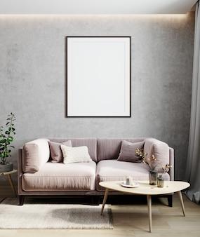 Salon intérieur moderne, maquette de mur vide dans une pièce lumineuse avec canapé rose pastel, table en bois et plante, rendu 3d