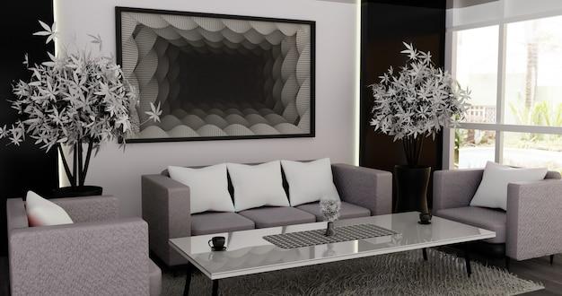 Salon intérieur moderne et minimaliste
