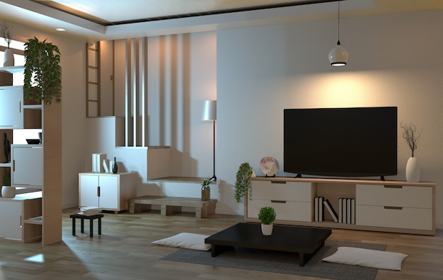 Salon intérieur de style zen avec télévision intelligente et style de décoration japonais
