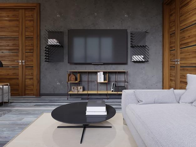 Salon loft avec un meuble tv design jaune et une télévision avec étagères. rendu 3d.