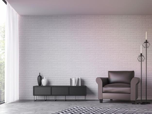 Salon loft moderne avec vue sur la nature rendu 3d meublé avec une chaise longue en cuir marron foncé