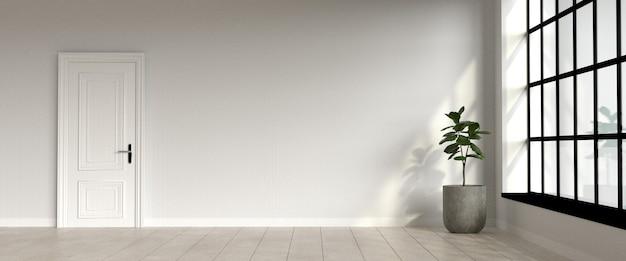 Salon lumineux dans un immeuble de style loft avec porte blanche