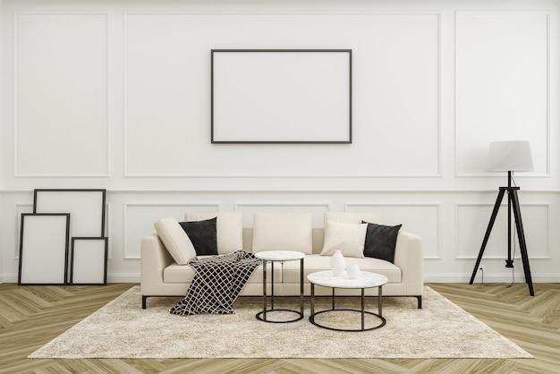 Salon de luxe avec canapé moderne et lampadaire