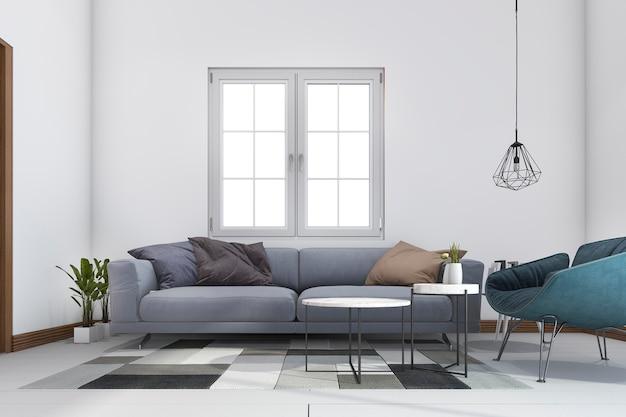 Salon de luxe classique rendu 3d avec lustre et décor